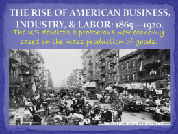 the rise of american business, industry, and labor: 1865*1920.