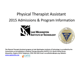 Physical Therapist Assistant - Lake Washington Institute of Technology