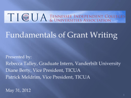 Fundamentals of Grant Writing