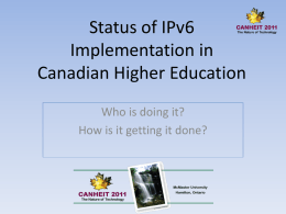 Status of IPv6 deployment in Canadian Higher Education
