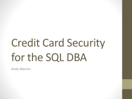 Storing Credit Cards in SQL Server