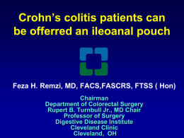 Ileal pouch for Crohn`s colitis - Advances in Inflammatory Bowel