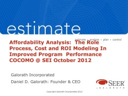 Affordability Analysis: The Role Process, Cost and ROI Modeling
