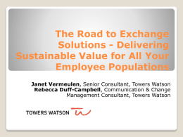 The Road to Exchange Solutions-Delivering Sustainable Value for