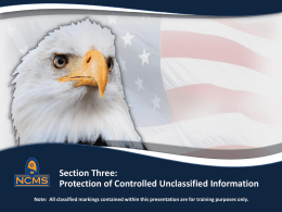 Section Three: Protection of Controlled Unclassified Information