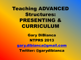 Teaching ADVANCED Structures