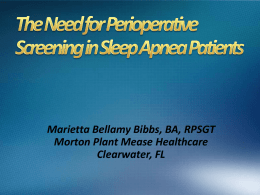 Perioperative Screening for Obstructive Sleep Apnea Patient Safety
