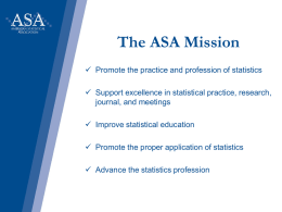 ASA Membership Highlight Presentation