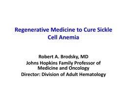 Regenerative Medicine to Cure Sickle Cell Anemia
