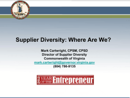 Supplier Diversity: Where Are We?