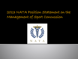 2013 NATA Position Statement on Management of Sport
