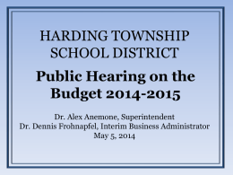 Final 2014-2015 Budget - Harding Township School / Overview