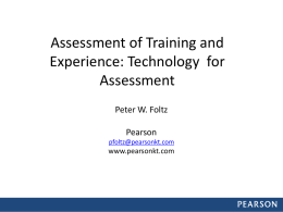 Assessment of Training and Experience Technology