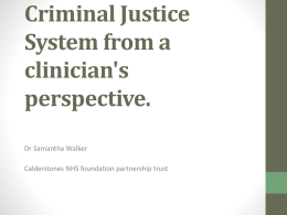 Autism and the Criminal Justice System from a clinician`s perspective.