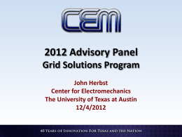 Herbst-Grid Solutions Program - The University of Texas at Austin