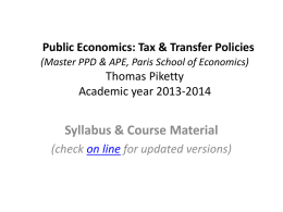 Thomas Piketty Academic year 2013-2014