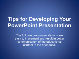 PowerPoint Presentation Recommendations