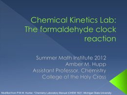 Chemical Kinetics Lab: The formaldehyde clock reaction
