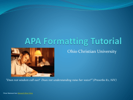 APA Tutorial
