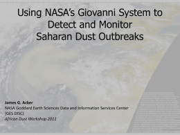 Using NASA`s Giovanni System to Detect and Monitor Saharan Dust