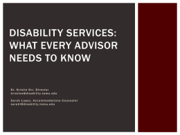 Disability Services - University Advisors and Counselors