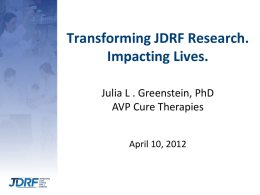 Research Agenda of Hope for all T1D Patients