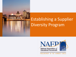 Jamie Green - Establishing a Supplier Diversity Program
