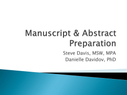 Manuscript & Abstract Writing