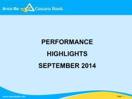Performance Highlights for September 2014