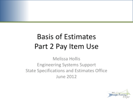Basis of Estimates