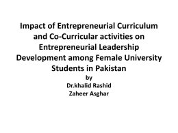 Impact of Entrepreneurial Curriculum and Co