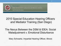 DSM-IV AND IDEA : - Seattle University School of Law
