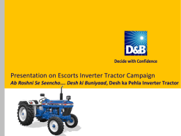 Presentation on Escorts Inverter Tractor Campaign