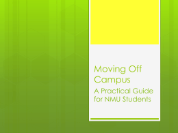 Moving Off Campus - Northern Michigan University