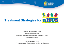 Treatment Strategies-Atypical HUS