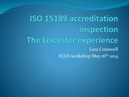 ISO 15189 accreditation inspection The Leicester experience