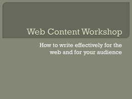 Web Content Workshop Slides