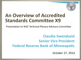 An Overview of Accredited Standards Committee X9