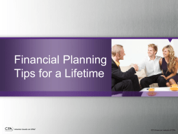Financial Planning Tips for a Lifetime Presentation