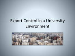 OSP-OSA Training - Export Controls