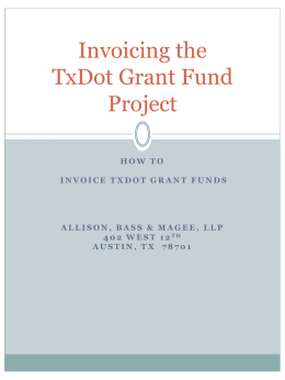 Invoicing TxDot Grant Funds