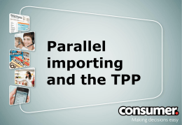 Parallel importing and the TPP