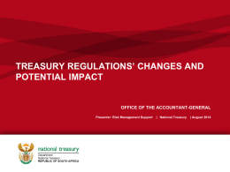 Presentation to TRs Changes and Potential Impact 21 August 2014
