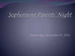 Sophomore Parents Night