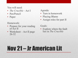 Nov 21 * Jr American Lit