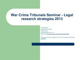 War crime tribunal seminar - Washington University School of Law