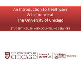 Introduction to Healthcare and Insurance at UChicago