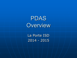 PDAS Training 2014-2015 - La Porte Independent School District