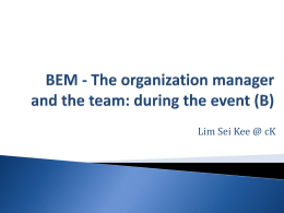 BEM – The organization manager and the team_