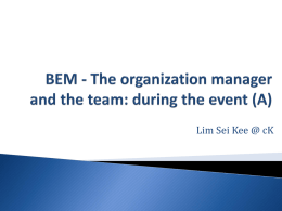 BEM - The organization manager and the team
